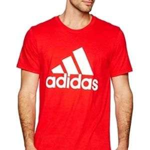 ADIDAS BADGE OF SPORT RED TEES SIZE LARGE